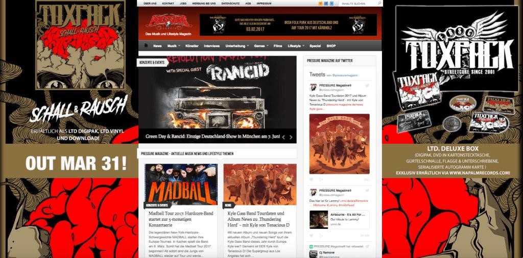 Website Wallpaper für TOXPACK Album Schall und Rauch - NAPALM-RECORDS im März 2017