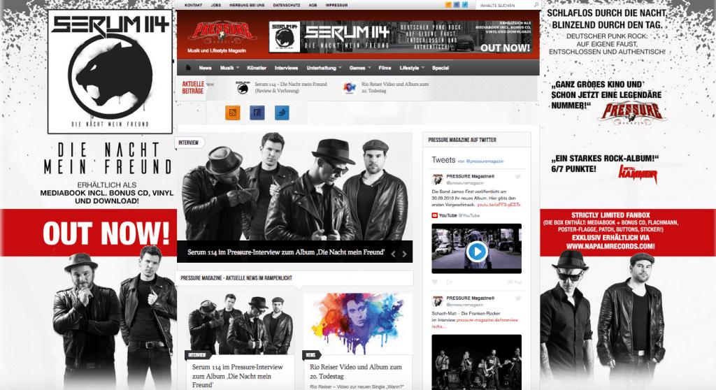 Serum114 Werbebuchung Sitetakeover Napalm Records im August 2016
