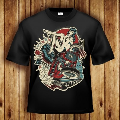 OUTLAW - Pressure Clothing T-Shirt Motiv mit Hot-Rod V8 Staub Oldschool Mikrofon Skull Dice Spade Donner Blitzen sexy Pin-Up Betty Page Stil